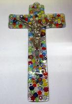 Crocefisso in vetro con Cristo in bagno d'argento bordi squadrati