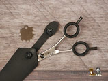 T-2-G Razor Schere, kleine gebogene Schere, schwarze Hülle