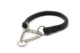 Halsband, rundgenäht mit Ketteneinsatz, SCHWARZ