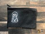 Baumwoll-Tasche, Schwarz, mit Hunde-Print  -Restbestand-