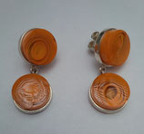 Aretes redondos doble CJ02 Naranja
