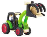 Traktor mit Heuballen-Auflader
