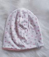 Winterbeanie 39-41 Herzen rosa - grau