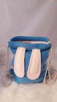 Hasenruck-sack blau, rosa Ohren