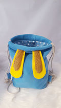 Hasenruck-sack blau, gelbe Ohren