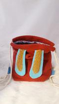 Hasenruck-sack rot, blaue Ohren