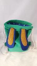 Hasenruck-sack grün, blaue Ohren