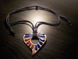 Talavera Halskette braun und blau (Herz 6.5x6.5cm)