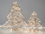 Albero decorativo con LED luce  in rattan crema-marrone
