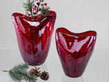 """Vaso """"rosso con strisce"""" in vetro colorato con strisce nero, lavorato a mano"""