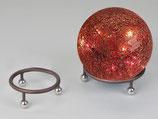 Anello per sfera in metallo color marrone con sfere color argento