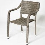 Destiny Sessel Triest Stapelsessel Polyrattan Geflechtsessel beige grau stapelbar mit Armlehne wetterbeständig
