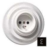 Prise de courant rétro blanche en céramique