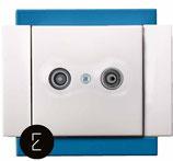 Prise Antenne TV couleur Bleu Electrique