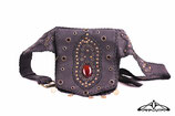 Handmade leather bag with stone