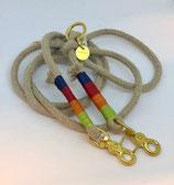 zampetta Hanf-Tau Halsband Gr. M, rot, grün, blau abgebunden, Nr. 20