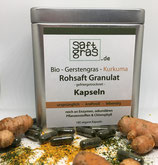 Bio Gerstengras-Kurkuma Rohsaft Granulat, 180 vegane Kapseln