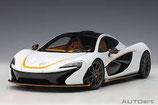 2013 McLaren P1 alaskan-diamond white with orange  1:18