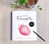 Rezeptbuch zum Selberschreiben I - Lieblingsrezepte - COVER: ERDBEERE - (schwarzer Stern mit Herz)