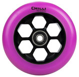 Chilli honeycomb wheel purple PU/ black core 110mm