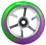 Chilli Pro 6-spoke green/ purple PU / silver spoke core 110mm