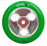 Chilli wheel parabol green PU / silver core 100mm