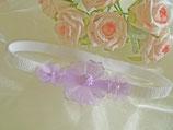 Kopfband weiß mit lila Blüten