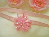 Kopfband rosa mit Paiettenblüte