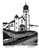Scherenschnittkarte Pfarrkirche Seelisberg