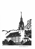Scherenschnittkarte Pfarrkirche Buochs
