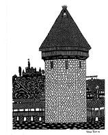 Scherenschnittkarte Wasserturm Luzern