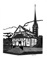 Scherenschnittkarte Pfarrkirche Stans