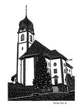 Scherenschnittkarte Pfarrkirche Beckenried
