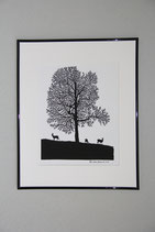 Ahornbaum und Rehe