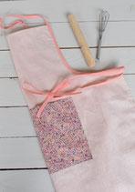 Tablier enfant cuisine lin rose poudré/saumon à personnaliser prénom au choix