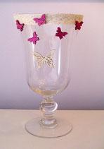 Windlicht Pokalglas Schmetterling