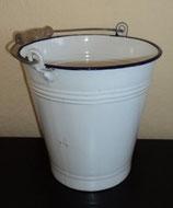 Emaille-Eimer weiss mit blauem Rand - 5 Liter