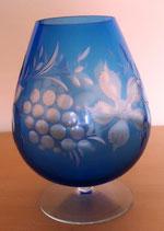Kristallglas - Kristallvase - Blau mit Schliff - DDR (#6)