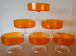 6er Set Eisbecher in Orange in OVP