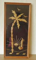 Wandschmuck - Bild aus Holz - Palme und Sonne - DDR