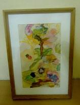 Holzbilderrahmen mit Zeichnung