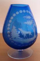 Kristallglas - Kristallvase - Blau mit Schliff - DDR (#4)