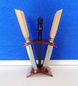 6 kleine Messer DDR mit Messerhalter aus Kunststoff