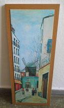 """Kunstdruck auf Holzplatte """"Montmartre"""" Maurice Utrillo 1939"""