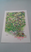 Landkarte des Erzgebirges - Postkarte