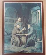 Kunstdruck auf braunem Leinenrahmen - Männer in einer Bierstube