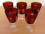 5 kleine Likörgläser - Kristallgläser - Rot