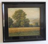 auf Holz gemaltest Landschaftsbild im alten Rahmen