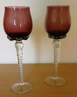 2er Set Weingläser mundgeblasen - Teelicht-/Kerzenhalter/Kerzenständer - DDR