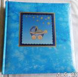 Baby-Fotoalbum in Blau mit Kinderwagen - KPH Heisler photalben